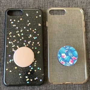 Accessories - 2 iPhone 7 Plus Cases with Popsockets